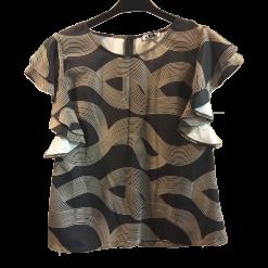 Μπλούζα με κοντά μανίκια και βολάν