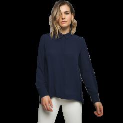 Γυναικείο πουκάμισο μπλέ με γιακά