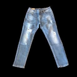 Jean παντελόνι με σκισίματα και παγιέτες