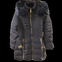 Γυναικείο μακρύ μπουφάν με γούνινη επένδυση