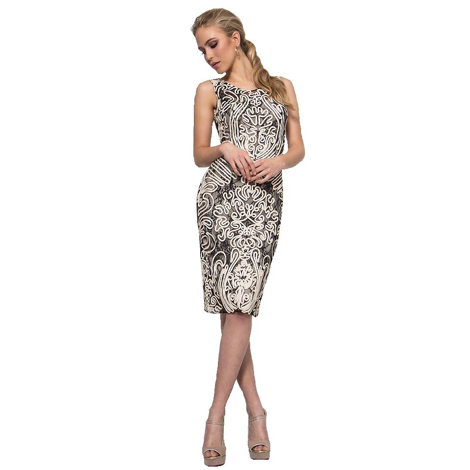 Mini sleeveless dress with embossed design