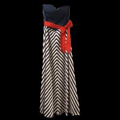 Maxi φόρεμα strapless με κόκκινη ζώνη