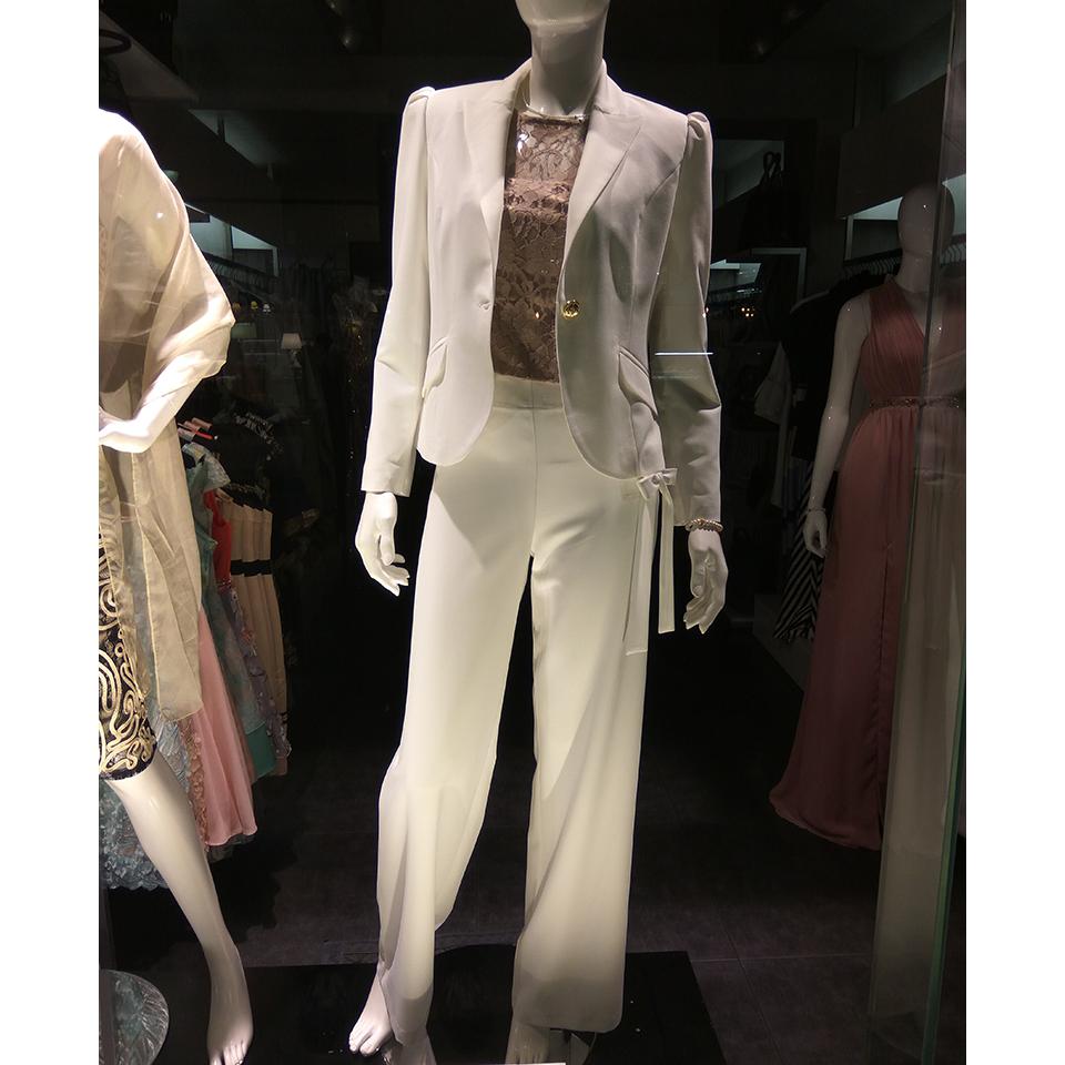 Γυναικεία λευκή παντελόνα με χρυσές λεπτομέρειες