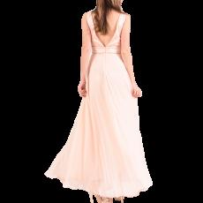 Maxi φόρεμα μουσελίνα με V ανοικτή πλάτη