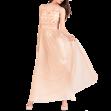 Maxi φόρεμα μουσελίνα με χρυσό μπούστο