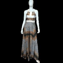 Maxi εμπριμέ φόρεμα με δύο ανοίγματα
