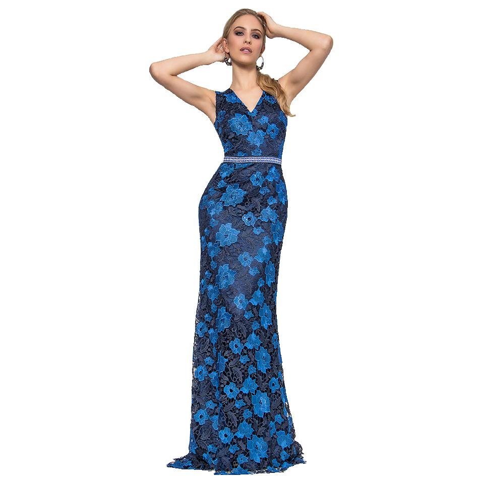 Βραδινό maxi φόρεμα από δαντέλα