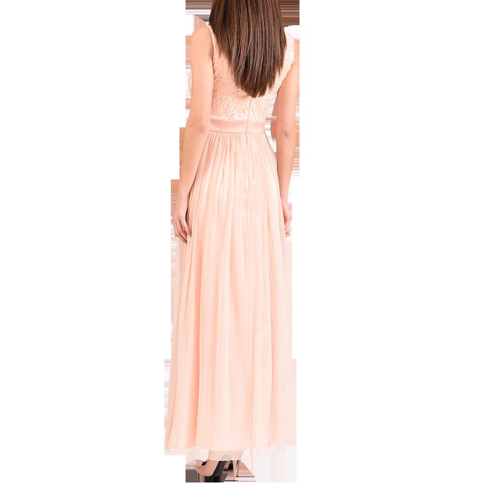 Maxi φόρεμα με ανάγλυφο μπούστο και φιόγκο