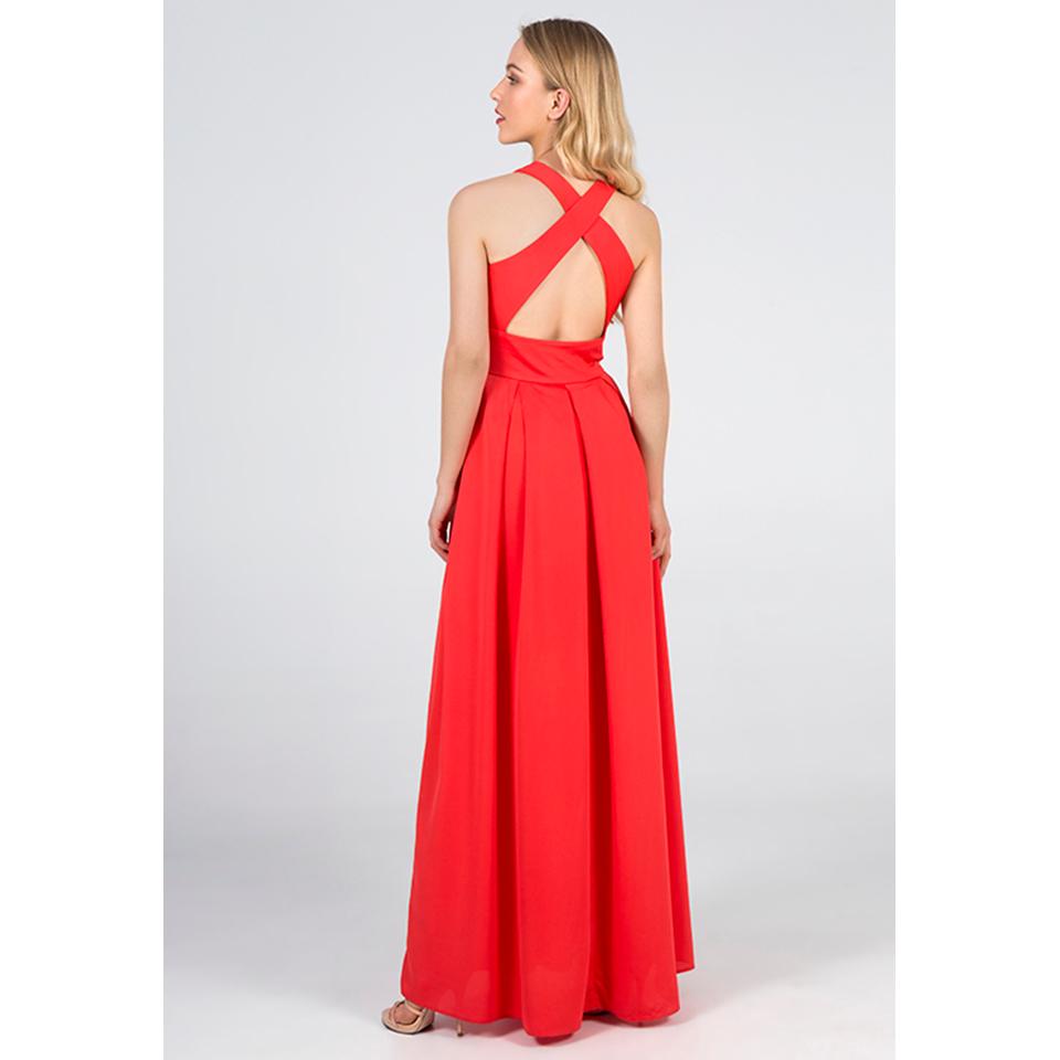 Maxi φόρεμα με χιαστή ανοικτή πλάτη