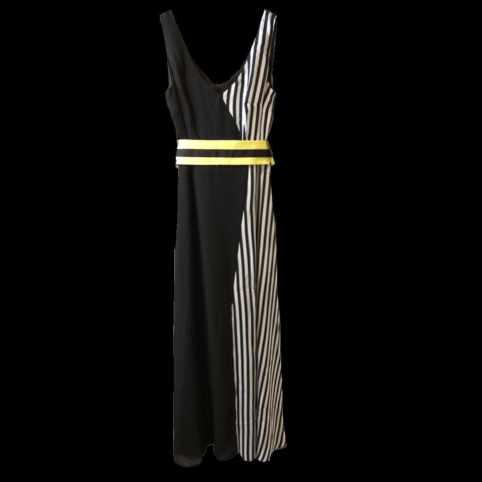 Maxi αμάνικο φόρεμα με ριγέ λεπτομέρειες