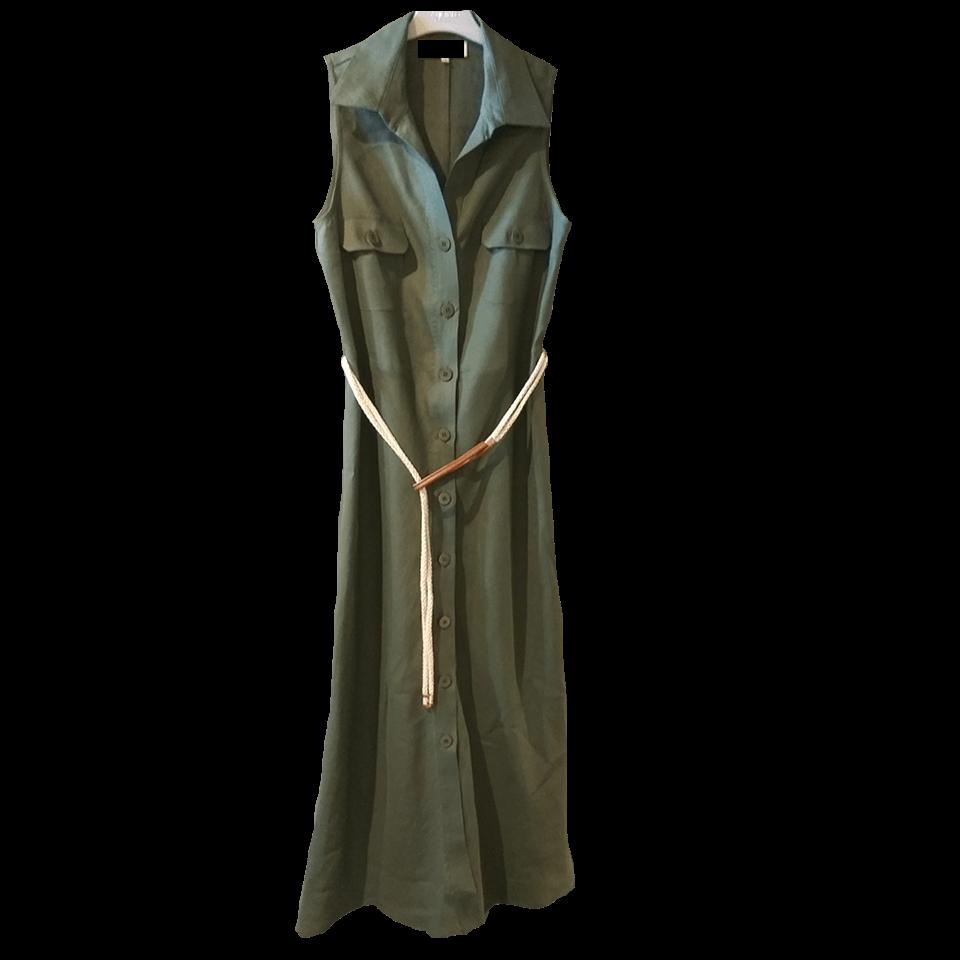 Αμάνικο μακρύ φόρεμα - πουκαμίσα