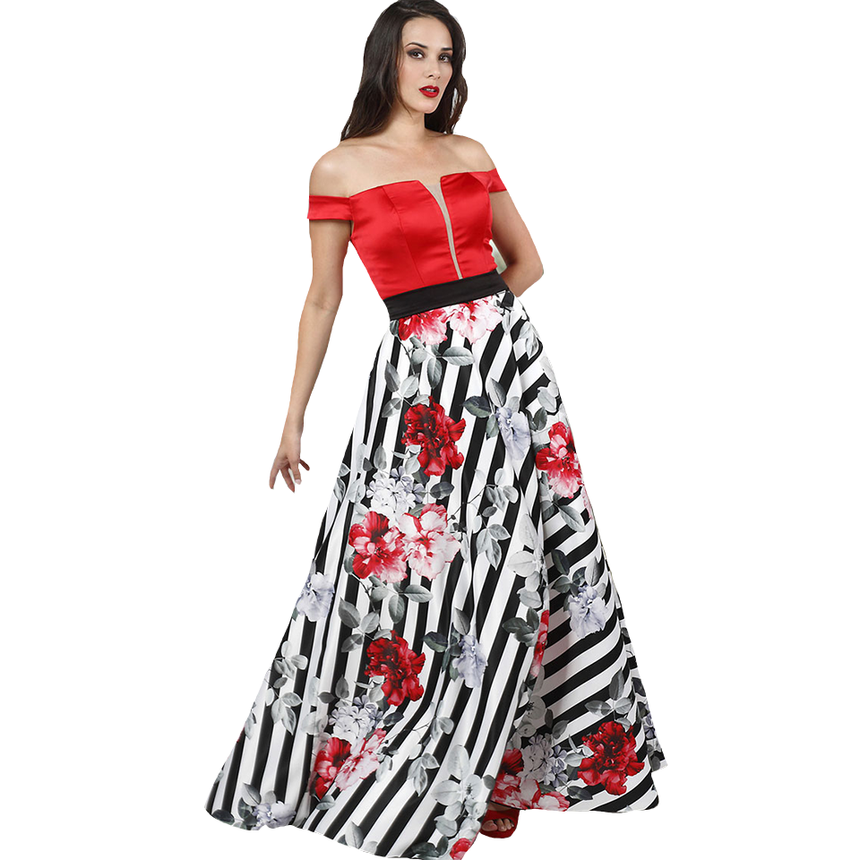 Maxi έξωμο φόρεμα με extra ζώνη