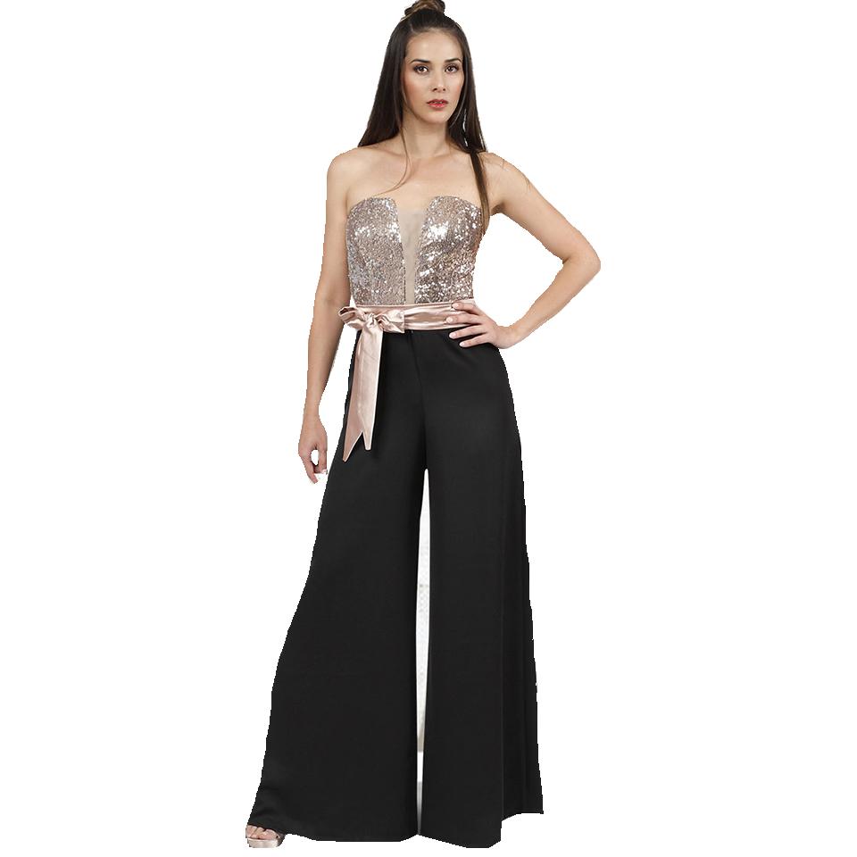 Ολόσωμη strapless φόρμα με ζώνη