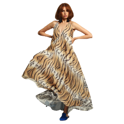 Ασύμμετρο maxi φόρεμα λεοπάρ