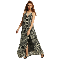 Maxi πλεκτό φόρεμα με άνοιγμα μπροστά