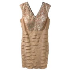 Χρυσό κοντό φόρεμα με φύλλα και δαντέλα