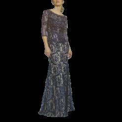 Maxi φόρεμα με δαντέλα και 3/4 μανίκια