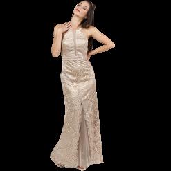 Maxi φόρεμα δαντέλα με διαφάνεια μπροστά