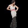 Maxi ασπρόμαυρο φόρεμα από δαντέλα