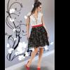 Mini φόρεμα σε Α γραμμή ασπρόμαυρο
