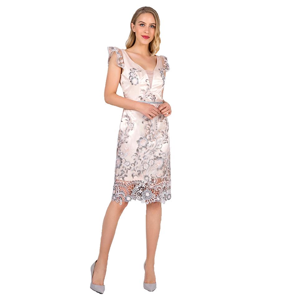 Mini φόρεμα δαντέλα με ασημί λεπτομέρειες